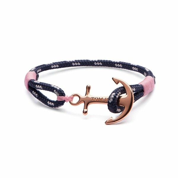 Bracelet Tom Hope Rose Gold M bleu en plaqué or rose