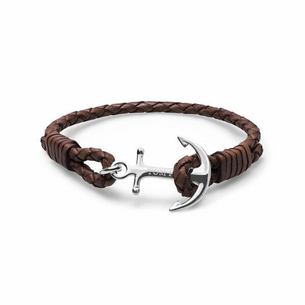Bracelet Tom Hope Havana Brown M marron en cuir et argent