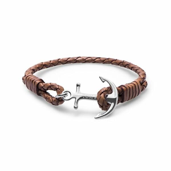 Bracelet Tom Hope Cognac L marron clair en cuir et argent