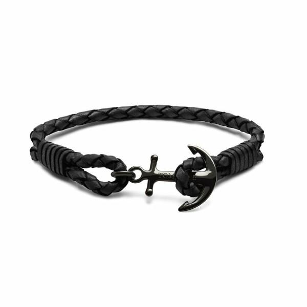 Bracelet Tom Hope Carbon Black M en cuir et acier plaqué noir