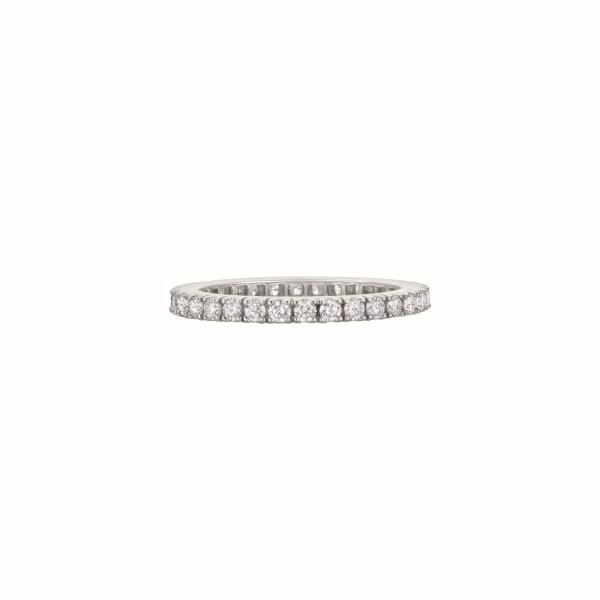 Alliance tour complet Tulle diamants taille brillant en or blanc palladié