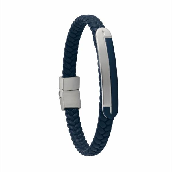 Bracelet Jourdan Bijoux Alfonso en cuir, acier PVD bleu