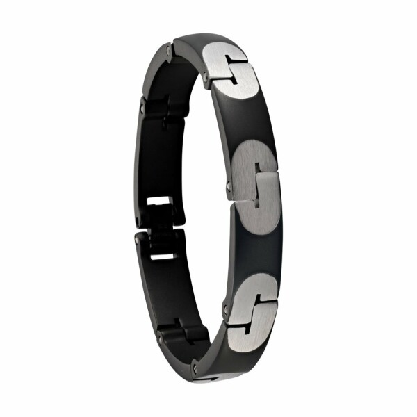 Bracelet Jourdan Bijoux Jin-Jang en acier PVD noir