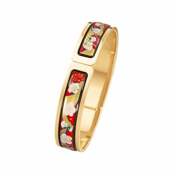 Bracelet FREY WILLE Hommage à Vincent van Gogh - L'Amandier Rouge éclat en email plaqué or jaune, taille M