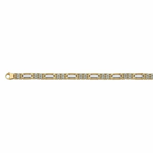Bracelet en or jaune et or blanc, 21cm