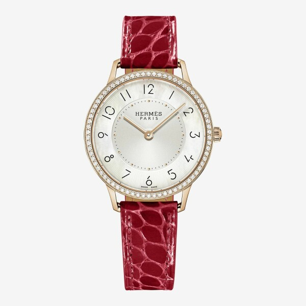 Montre Hermès Slim d'Hermès MM lunette sertie de diamants