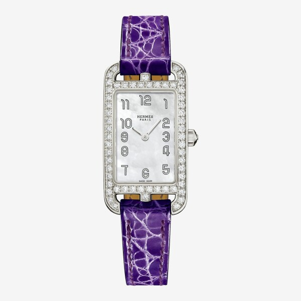 Montre Hermès Nantucket PM lunette sertie de diamants