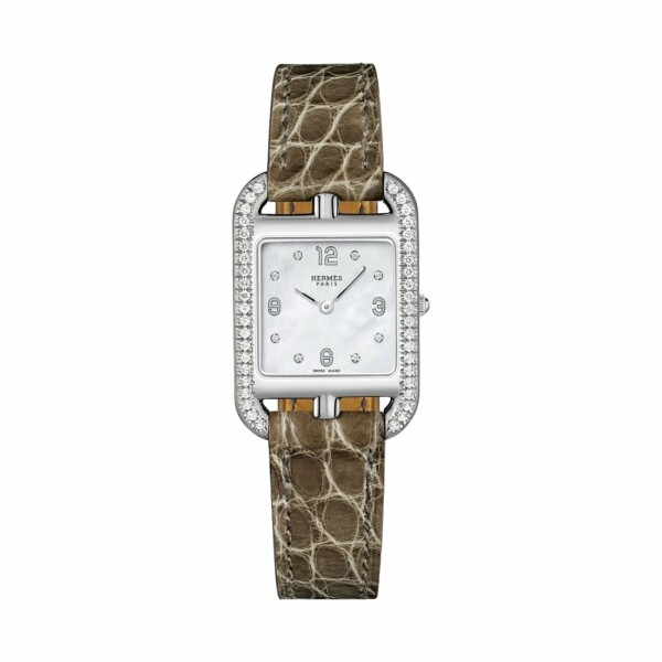 Montre Hermès Cape Cod PM lunette sertie de diamants et index diamants