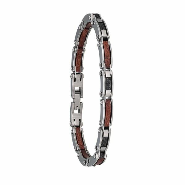Bracelet Jourdan Bijoux Metis en acier, carbone et bois