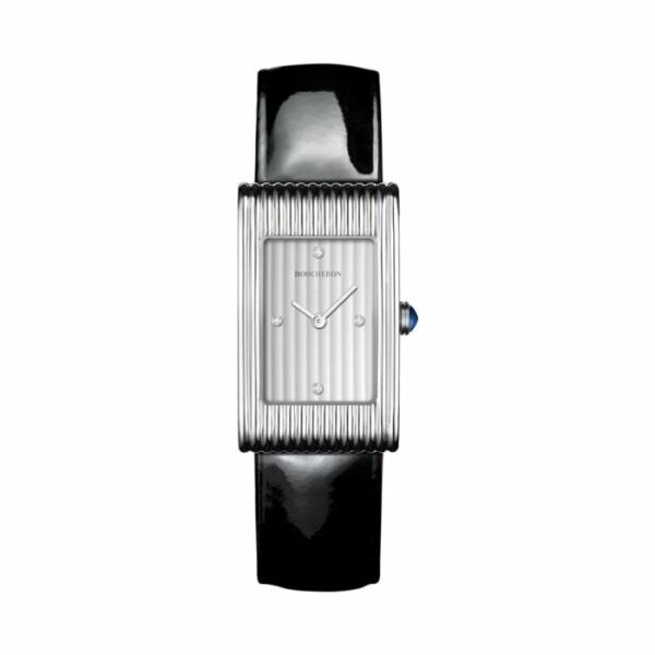 Boucheron Reflet Montre en acier, cadran godrons avec 4 index diamants