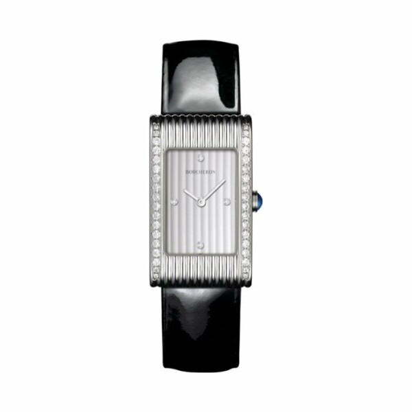 Boucheron Reflet Montre en acier sertie de diamants, cadran godrons avec 4 index diamants