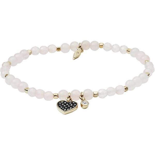 Bracelet Fossil en acier et quartz rose