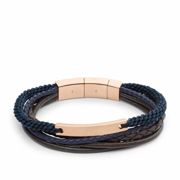 Bracelet Fossil en acier, cuir