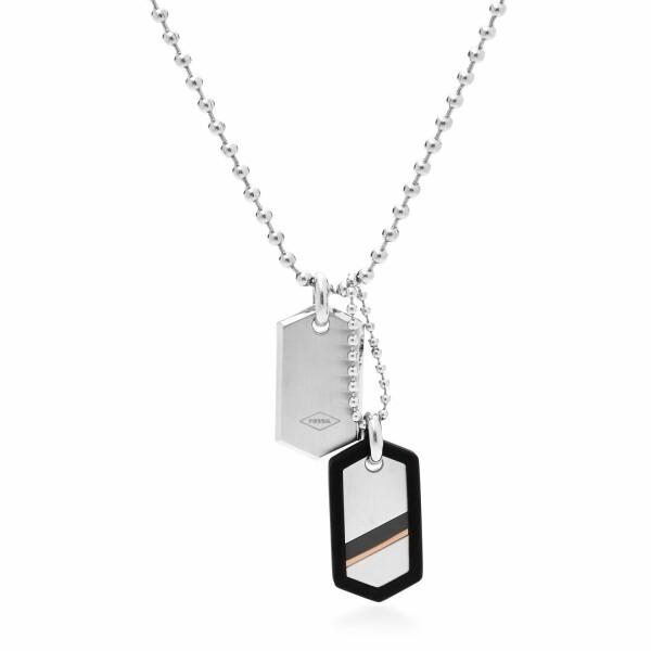 Collier Fossil en acier et oxyde de zirconium