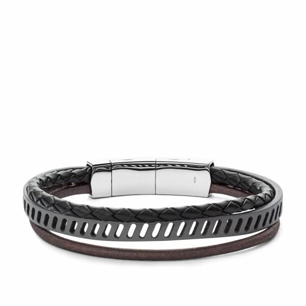 Bracelet Fossil en acier, cuir et oxyde de zirconium