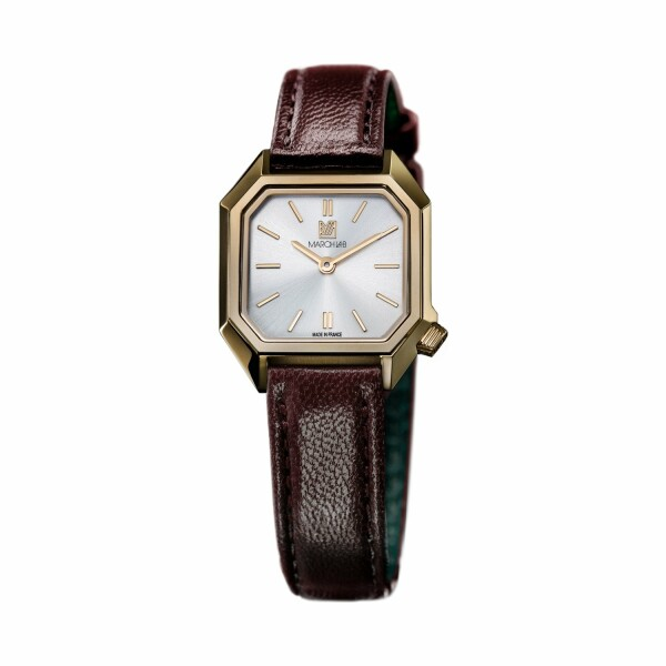 Montre March LA.B Lady Mansart Electric Continental - Bracelet veau marron et noir