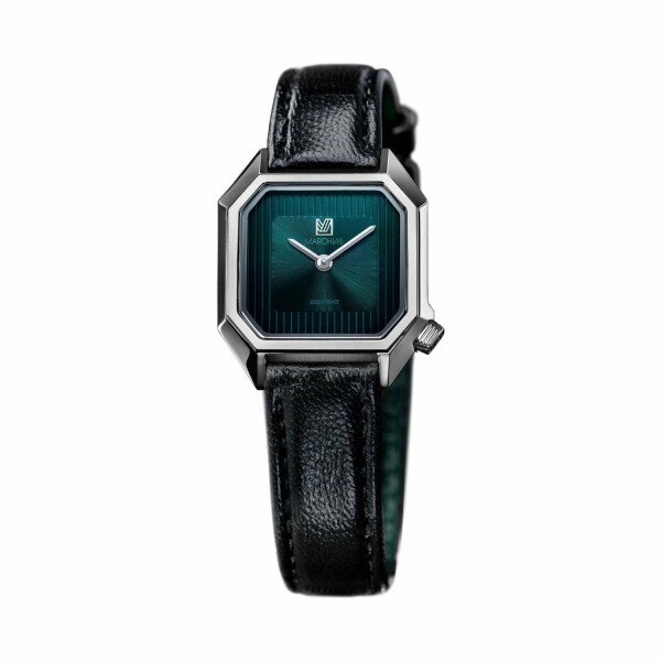 Montre March LA.B Lady Mansart Electric Forest - Bracelet veau vert et noir