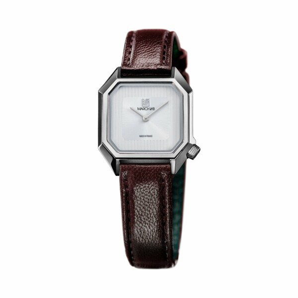 Montre March LA.B Lady Mansart Electric White - Bracelet veau marron et noir