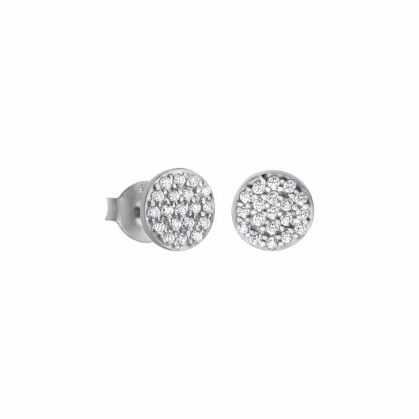 Boucles d'oreilles Lotus Silver Pure Essential en argent et strass