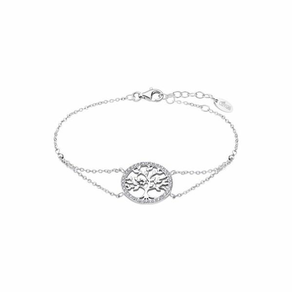 Bracelet Lotus Silver Tree Of Life en argent et strass