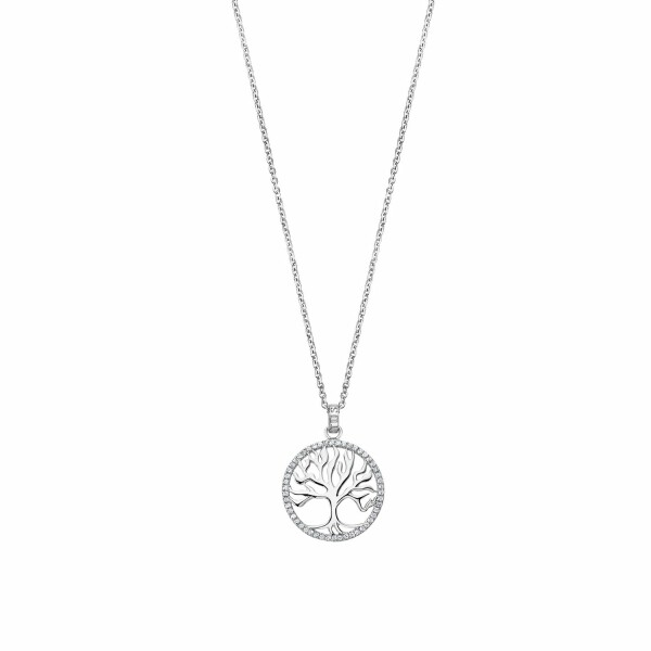 Collier Lotus Silver Tree Of Life en argent et strass