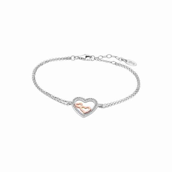 Bracelet Lotus Silver Moments en argent, plaqué or rose et strass
