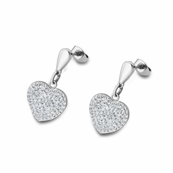 Boucles d'oreilles Lotus Style Bliss coeur en acier et oxydes de zirconium