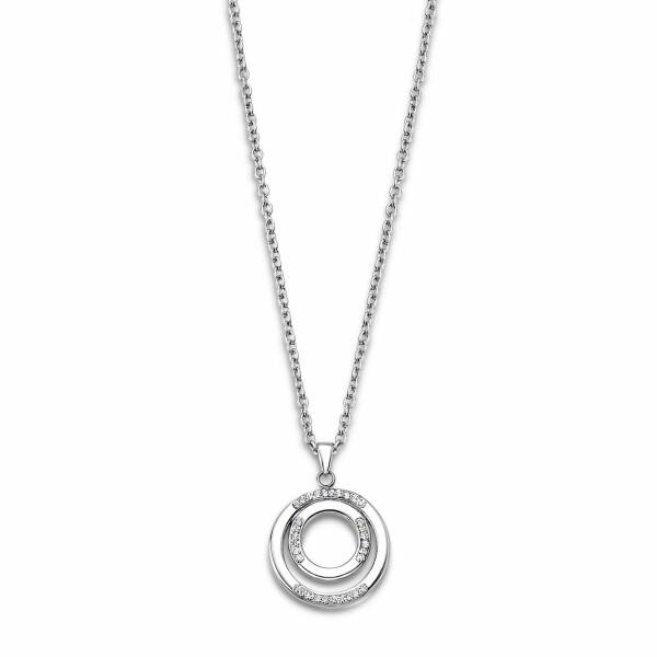 Collier Lotus Style Bliss en acier et oxydes de zirconium