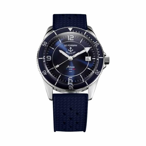 Montre Le Forban Sécurité Mer La Malouine cadran bleu bracelet bleu