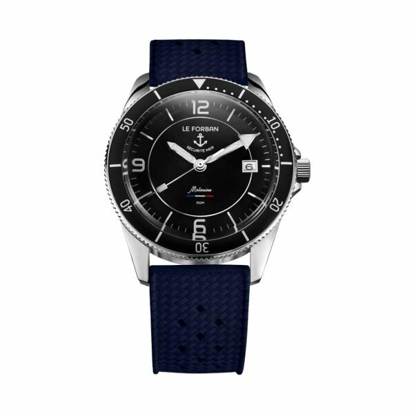 Montre Le Forban Sécurité Mer La Malouine cadran noir bracelet bleu
