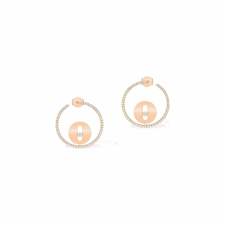 Boucles d'oreilles créoles Messika Lucky Move PM en or rose et diamants