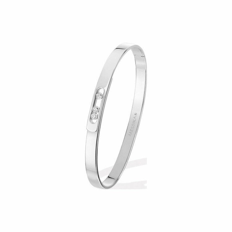 Bracelet bangle Messika PM en or blanc et diamants