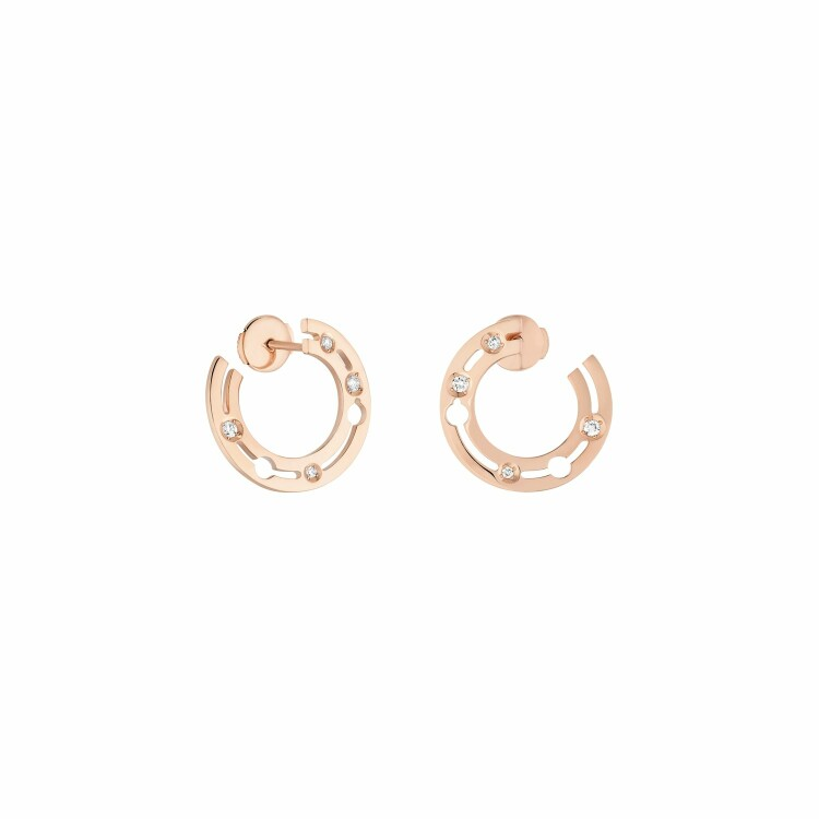 Boucles d'oreilles créoles dinh van Pulse dinh van en or rose et diamants