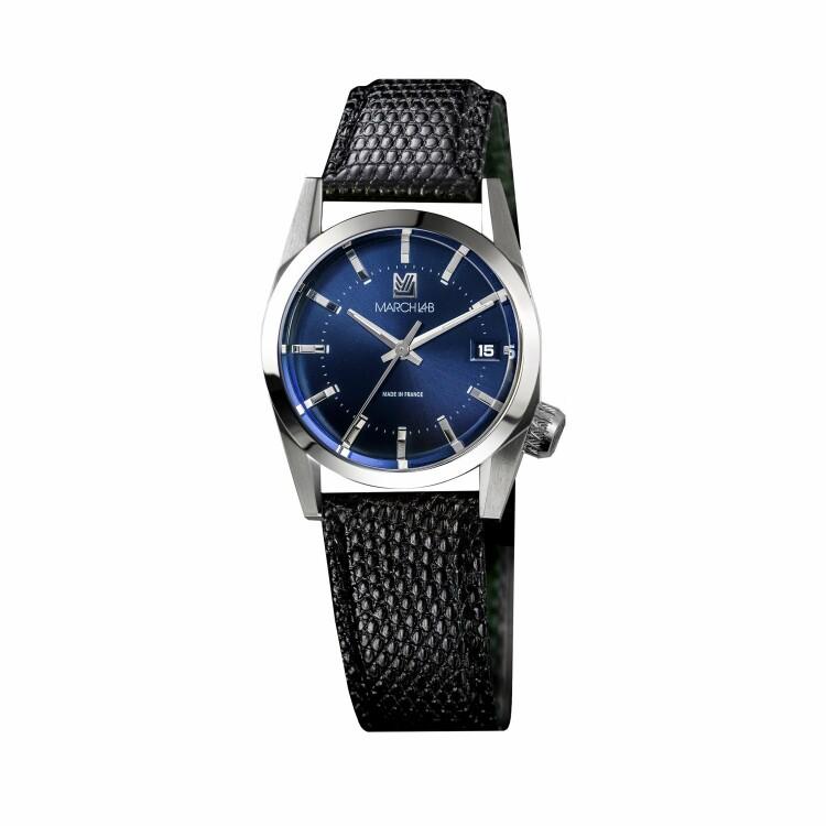 Montre March LA.B AM69 Electric Ocean - Bracelet lézard noir