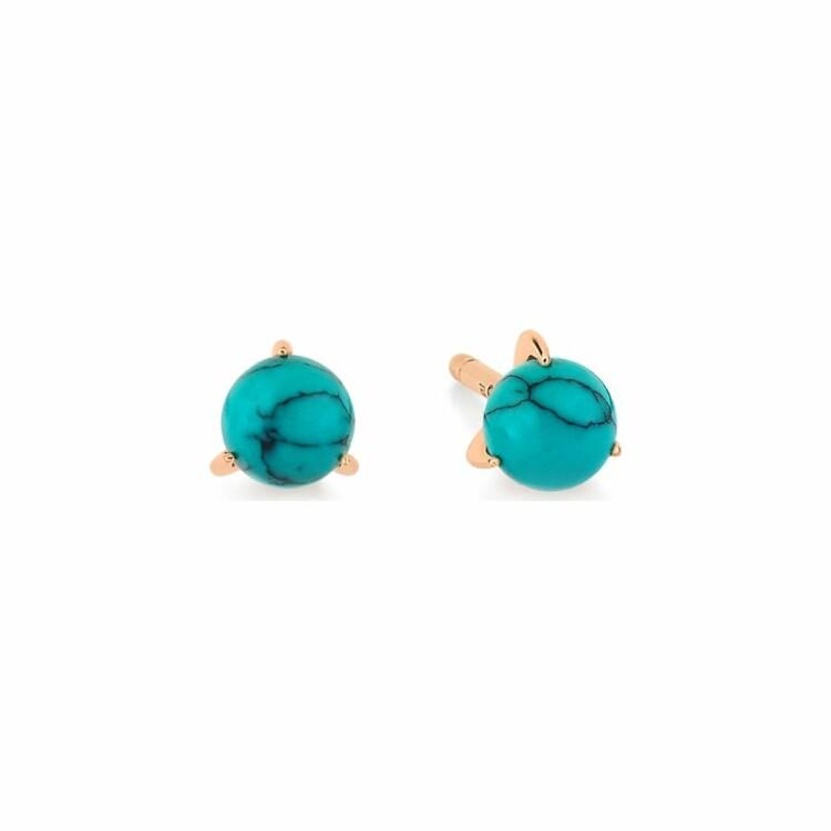 Boucles d'oreilles GINETTE NY MARIA en or rose et turquoise traitée