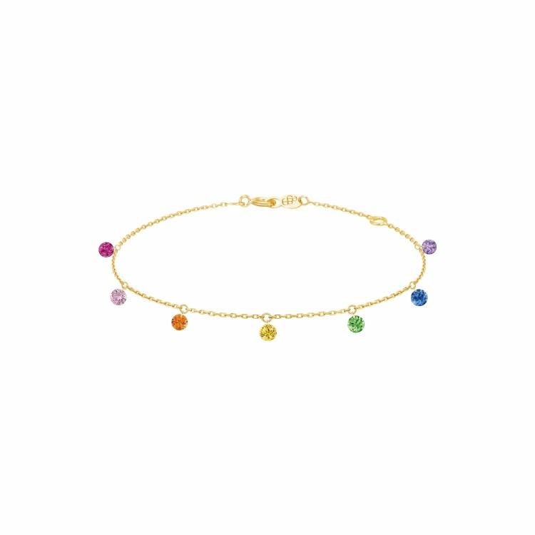 Bracelet LA BRUNE & LA BLONDE CONFETTI Rainbow en or jaune, rubis, saphirs rose, orange, jaunes, bleus, tsavorites et améthyste de 0.90ct