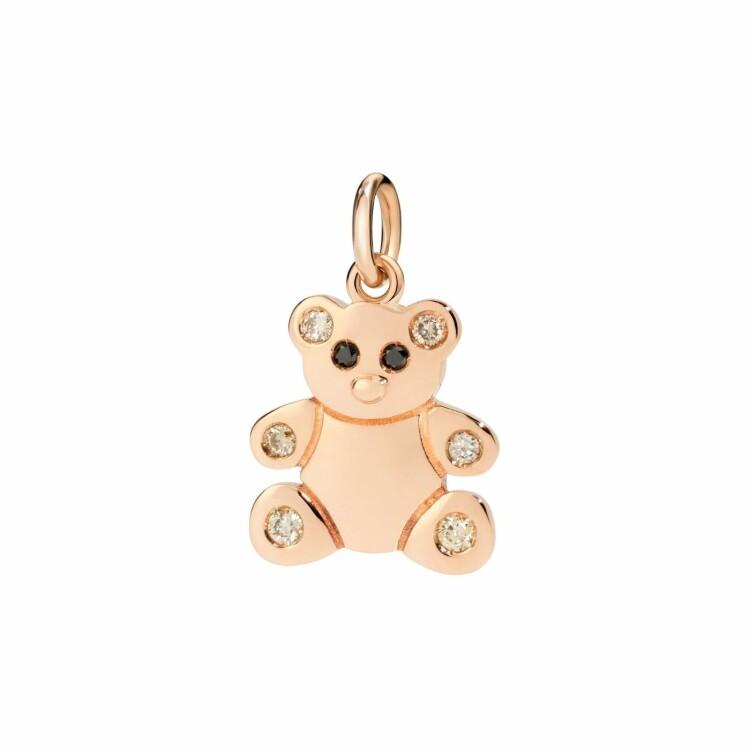 Pendentif DoDo Teddy Bear en or rose et diamants noirs et marrons