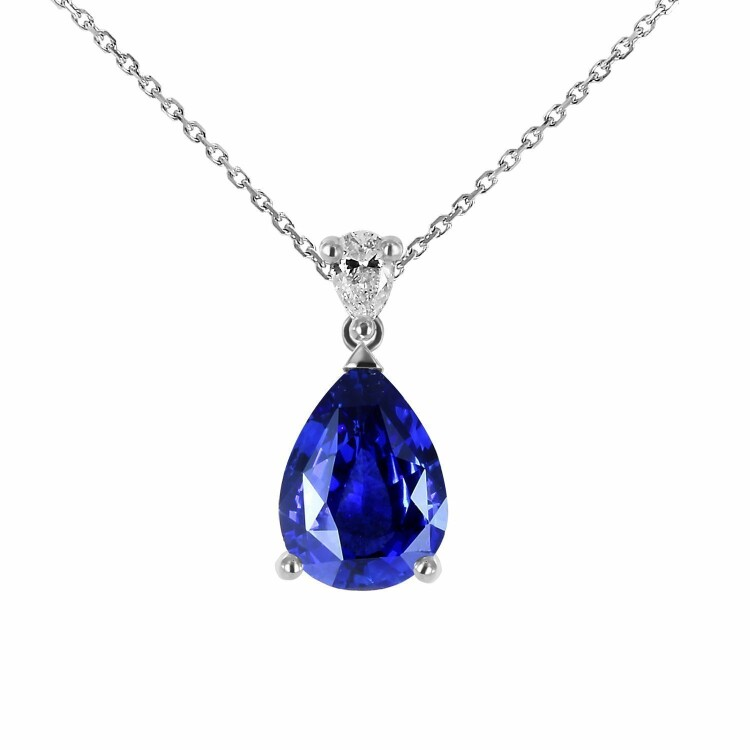 Pendentif en or blanc, saphir et diamants de 0.01ct