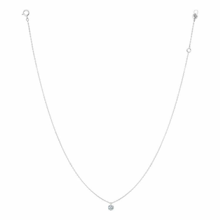 Collier LA BRUNE & LA BLONDE 360° en or blanc et diamant de 0.07ct
