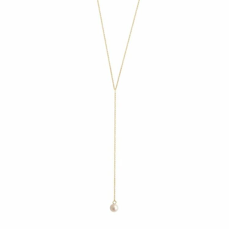 Collier Claverin Simply Mini Lasso en or jaune et perle blanche