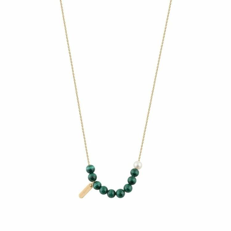 Collier Claverin Hope 10 en or jaune, perles de malachite et perle blanche