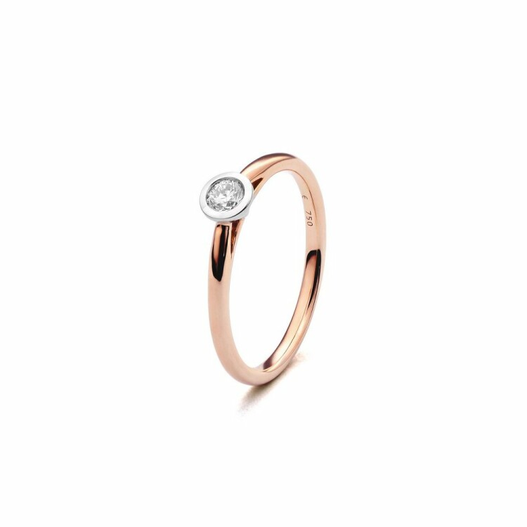 Solitaire en or blanc, or rose et diamant de 0.2ct