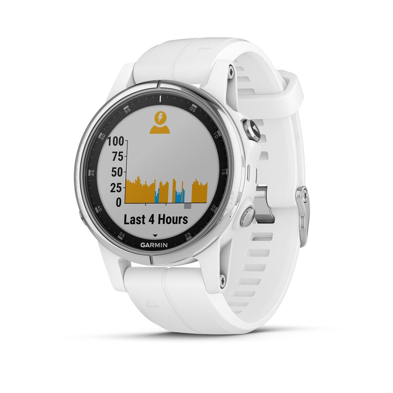 Montre connectée Garmin fenix 5S Plus Sapphire blanche avec bracelet blanc vue 2