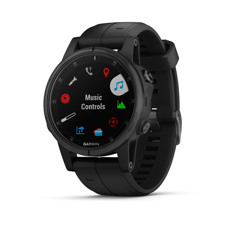 Montre connectée Garmin fenix 5S Plus Sapphire noire avec bracelet noir vue 2