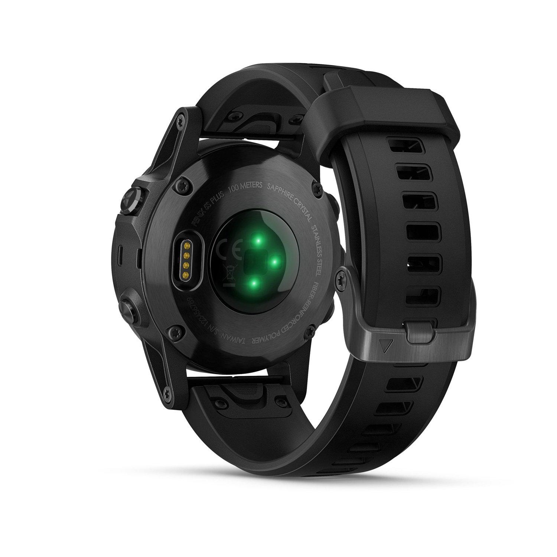 Montre connectée Garmin fenix 5S Plus Sapphire noire avec bracelet noir vue 6