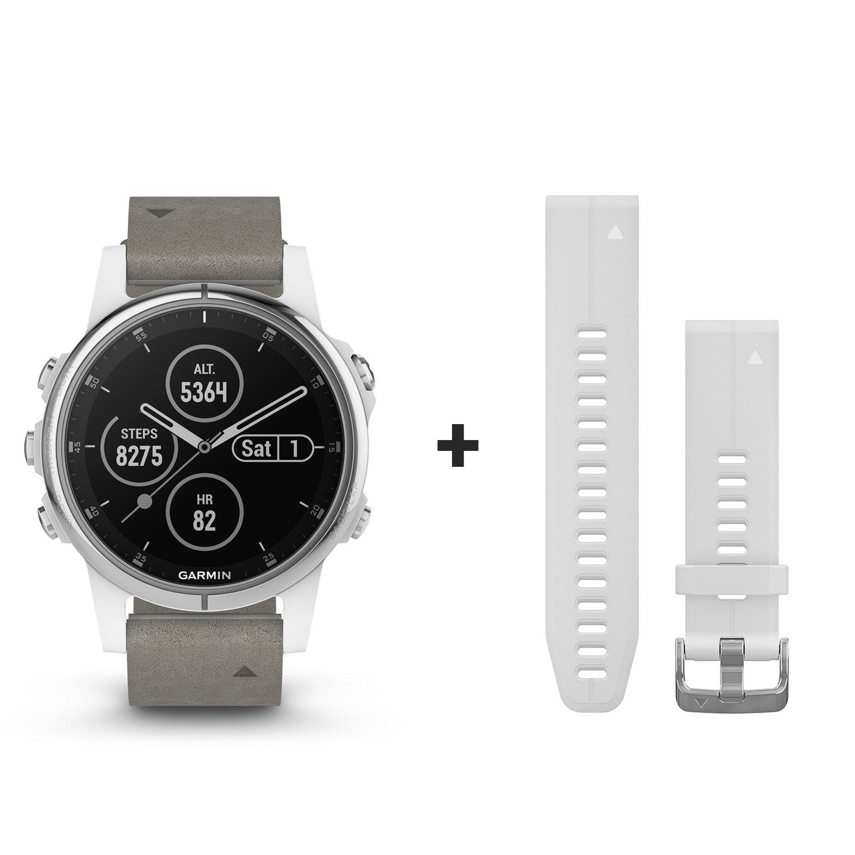 Montre connectée Garmin fenix 5S Plus Sapphire blanche avec bracelet daim vue 1