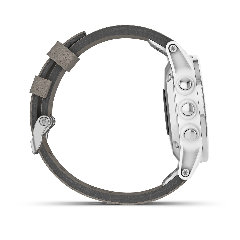 Montre connectée Garmin fenix 5S Plus Sapphire blanche avec bracelet daim vue 6