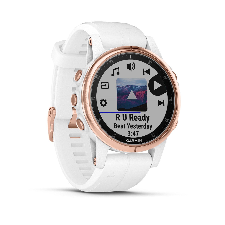 Montre connectée Garmin fenix 5S Plus Sapphire plaquée or rose, bracelet blanc vue 2