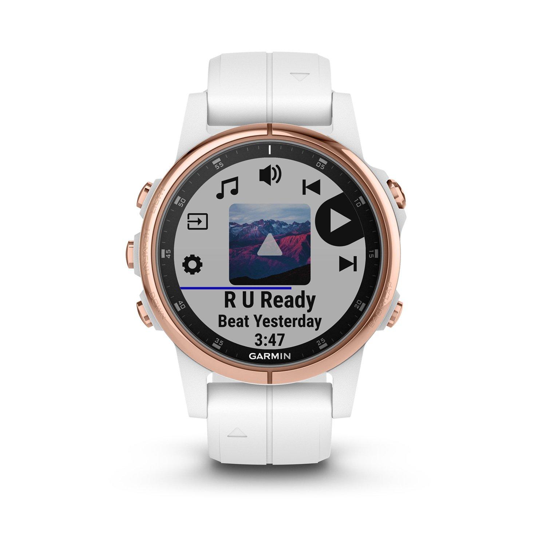 Montre connectée Garmin fenix 5S Plus Sapphire plaquée or rose, bracelet blanc vue 3