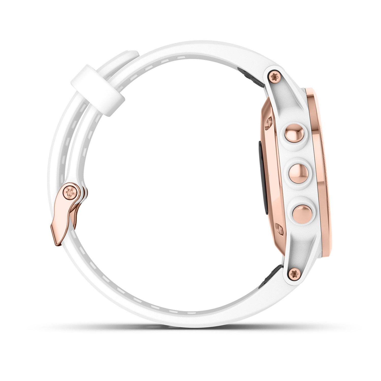 Montre connectée Garmin fenix 5S Plus Sapphire plaquée or rose, bracelet blanc vue 4